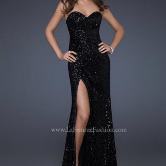 La Femme Dresses Black Sequin Prom Dress Poshmark